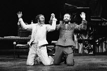 OTHELLO  by Shakespeare   design: Pamela Howard   lighting: Brian Harris   director: Ronald Eyre <br>~l-r: Donald Sinden (Othello), Bob Peck (Iago) ~lo-res for selection & layout purposes only: hi-res...