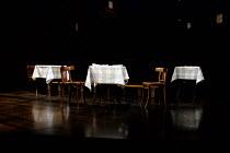 DEATH OF A SALESMAN   by Arthur Miller   design: Stephen Brimson Lewis   lighting: Tim Mitchell   director: Gregory Doran   stage,full,set,empty,interior,restaurant,Chophouse,table,check,cloth,New Yor...