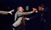 DEATH OF A SALESMAN   by Arthur Miller   design: Stephen Brimson Lewis   lighting: Tim Mitchell   director: Gregory Doran ~3.2.5: Frank's Chophouse - l-r: Antony Sher (Willy Loman), Alex Hassell (Biff...