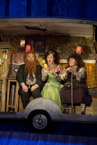 THE TWITS   by Roald Dahl   adapted by Enda Walsh   design: Chloe Lamford   lighting: Philip Gladwell   director: John Tiffany   l-r: Jason Watkins (Mr Twit), Christine Entwisle (Tattooed Fortune-Tell...