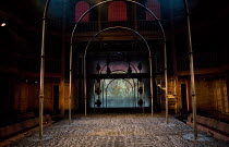 LOVE'S SACRIFICE   by John Ford   design: Anna Fleischle   lighting: Lee Curran   director: Matthew Dunster stage,set,empty,lights,velvet,floor,auditorium,seatsRoyal Shakespeare Company (RSC) / Swan T...