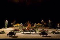 LIGHT SHINING IN BUCKINGHAMSHIRE   by Caryl Churchill   set design: Es Devlin   costumes: Soutra Gilmour   lighting: Bruno Poet   director: Lyndsey Turner   stage,set,candles,banquet,food,flowers   Ly...