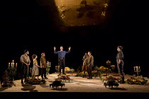 LIGHT SHINING IN BUCKINGHAMSHIRE   by Caryl Churchill   set design: Es Devlin   costumes: Soutra Gilmour   lighting: Bruno Poet   director: Lyndsey Turner (in blue) Nicholas Gleaves (Star)   right: Tr...