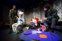 A NEW PLAY FOR THE GENERAL ELECTION   written & directed by Chris New   design: Kate Unwin   lighting: Douglas Green   l-r: Jumaane Brown (Daniel Smith), Charlie Hollway (George Osborne), Emily Hought...