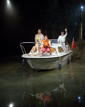 WAY UPSTREAM   by Alan Ayckbourn   design: Ben Stones   lighting: Tim Mitchell   director: Nadia Fall ~~l-r: Sarah Parish (June), Jill Halfpenny (Emma), Peter Forbes (Keith) ~Chichester Festival Theat...