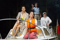 WAY UPSTREAM   by Alan Ayckbourn   design: Ben Stones   lighting: Tim Mitchell   director: Nadia Fall ~~l-r: Sarah Parish (June), Jill Halfpenny (Emma), Jason Hughes (Alistair), Peter Forbes (Keith) ~...