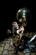 MATCHBOX THEATRE   by Michael Frayn   design: Polly Sullivan   lighting: David Howe   director: Hamish McColl 'Contraphonium': Chris LarnerHampstead Theatre (HT), London NW3   04/05/2015          Dona...