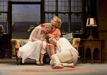 HAY FEVER   by Noel Coward   design: Peter McKintosh   lighting: Paul Pyant   director: Lindsay Posner top right: Felicity Kendal (Judith Bliss) with Edward Franklin (Simon Bliss) & Alice Orr-Ewing (S...