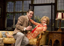 HAY FEVER   by Noel Coward   design: Peter McKintosh   lighting: Paul Pyant   director: Lindsay Posner Edward Killingback (Sandy Tyrell), Felicity Kendal (Judith Bliss)a Theatre Royal Bath production...