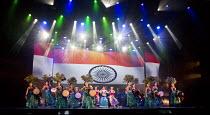 BEYOND BOLLYWOOD   written, choreographed & directed by Rajeev Goswami   original score: Salim-Sulaiman   lyrics: Irfan Siddiqui   company with Indian flag backdrop London Palladium, London W1   11/05...