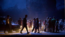 gypsies & smugglers in CARMEN by Bizet at English National Opera (ENO), London Coliseum WC2  20/05/2015  conductor: Richard Armstrong  set design: Alfons Flores & Kieron Docherty  costumes: Merce Pal...