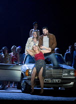 from the front: Justina Gringyte (Carmen), Eric Cutler (Jose), Eleanor Dennis (Micaela), Rhian Lois (Frasquita) in CARMEN by Bizet at English National Opera (ENO), London Coliseum WC2  20/05/2015  co...