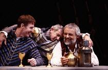 ANTONY AND CLEOPATRA   by Shakespeare   set design: Alison Chitty   lighting: Stephen Wentworth   director: Peter Hall ~~l-r: Tim Pigott-Smith (Octavius Caesar), John Bluthal (Lepidus), Anthony Hopkin...