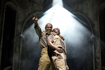 OTHELLO  by Shakespeare  set & lighting  design: Ciaran Bagnall  costumes: Fotini Dimou  director: Iqbal Khan  Act 4 sc.1 - l-r: Hugh Quarshie (Othello), Lucian Msamati (Iago)  Royal Shakespeare Com...
