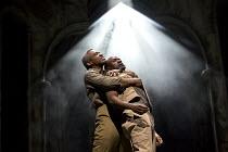 OTHELLO  by Shakespeare  set & lighting  design: Ciaran Bagnall  costumes: Fotini Dimou  director: Iqbal Khan  Act 4 sc.1 - l-r: Hugh Quarshie (Othello), Lucian Msamati (Iago)  Royal Shakespeare Com...