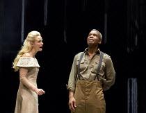 OTHELLO  by Shakespeare  set & lighting  design: Ciaran Bagnall  costumes: Fotini Dimou  director: Iqbal Khan ~Act 4 sc.2: Joanna Vanderham (Desdemona), Hugh Quarshie (Othello)~Royal Shakespeare Compa...