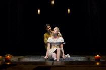 OTHELLO  by Shakespeare  set & lighting  design: Ciaran Bagnall  costumes: Fotini Dimou  director: Iqbal Khan  Act 4 sc.3 - l-r: Ayesha Dharker (Emilia), Joanna Vanderham (Desdemona)  Royal Shakespe...