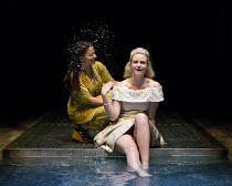 OTHELLO  by Shakespeare  set & lighting  design: Ciaran Bagnall  costumes: Fotini Dimou  director: Iqbal Khan ~Act 4 sc.3 - l-r: Ayesha Dharker (Emilia), Joanna Vanderham (Desdemona) ~Royal Shakespear...
