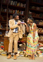 EDUCATING RITA   by Willy Russell   design: Ellen Cairns   lighting: Johanna Town   director: Michael Buffong   exchanging gifts: Lenny Henry (Frank), Lashana Lynch (Rita)  Minerva Theatre / Chicheste...