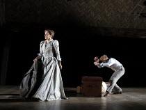 THE SEAGULL   by Chekhov   design: Jon Bausor   lighting: Philip Gladwell   director: Matthew Dunster ~Janie Dee (Irina Arkadina), Alex Robertson (Boris Trigorin)~Open Air Theatre (OAT) / Regent's Par...