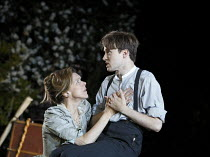 THE SEAGULL   by Chekhov   design: Jon Bausor   lighting: Philip Gladwell   director: Matthew Dunster ~Janie Dee (Irina Arkadina), Matthew Tennyson (Konstantin)~Open Air Theatre (OAT) / Regent's Park,...
