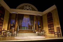 THE IMPORTANCE OF BEING EARNEST   by Oscar Wilde   design: Peter McKintosh   lighting: Howard Harrison   director: Adrian Noble   stage,set,empty,interior,period,drawing,room,library,books,windows,orn...