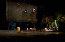 THE SEAGULL   by Chekhov   design: Jon Bausor   lighting: Philip Gladwell   director: Matthew Dunster stage,full,empty,furniture,wheelchair,props,reflection,mirror,lights,trees,RussiaOpen Air Theatre...