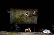 THE SEAGULL   by Chekhov   design: Jon Bausor   lighting: Philip Gladwell   director: Matthew Dunster stage,set,empty,props,wheelchair   reflected in over stage mirrorOpen Air Theatre (OAT) / Regent's...