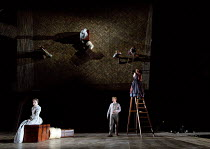 THE SEAGULL   by Chekhov   design: Jon Bausor   lighting: Philip Gladwell   director: Matthew Dunster l-r: Janie Dee (Irina Arkadina), Alex Robertson (Boris Trigorin), Tara D'Arquian (Natasha) and ref...