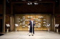 VOLPONE   by Ben Jonson   design: Stephen Brimson Lewis   lighting: Tim Mitchell   director: Trevor Nunn   Henry Goodman (Volpone)   showing full stage, valuables, display windows  Royal Shakespeare...