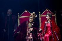 HAMLET by Shakespeare   set design: Setsu Asakura Tsukasa Nakagoshi   costumes: Ayako Maeda   lighting: Motoi Hattori   director: Yukio Ninagawa  watching 'The play within the play': Ran Ohtori (Gertr...