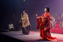HAMLET by Shakespeare   set design: Setsu Asakura Tsukasa Nakagoshi   costumes: Ayako Maeda   lighting: Motoi Hattori   director: Yukio Ninagawa  watching 'The play within the play' - l-r: Tatsuya Fuj...