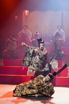 HAMLET by Shakespeare   set design: Setsu Asakura Tsukasa Nakagoshi   costumes: Ayako Maeda   lighting: Motoi Hattori   director: Yukio Ninagawa  'The play within the play': (rear) Genki Hori (Luciani...