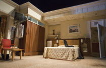 THE MENTALISTS   by Richard Bean   design: Richard Kent   lighting: David Plater   director: Abbey Wright   stage,set,empty,hotel,bedroom,bed,TV, Wyndham's Theatre, London WC2   13/07/2015...