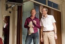 THE MENTALISTS   by Richard Bean   design: Richard Kent   lighting: David Plater   director: Abbey Wright   l-r: Steffan Rhodri (Morrie), Stephen Merchant (Ted)  Wyndham's Theatre, London WC2   13/0...