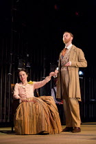 THREE DAYS IN THE COUNTRY   by Patrick Marber   after Turgenev   design: Mark Thompson   lighting: Neil Austin   director: Patrick Marber checking her pulse: Amanda Drew (Natalya), Mark Gatiss (Shpige...