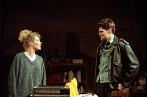 SKYLIGHT   by David Hare   design: John Gunter   lighting: Mark Jonathan   director: Richard Eyre ~~Stella Gonet (Kyra Hollis), Theo Fraser Steele (Edward Sergeant)~National Theatre 1995 production /...
