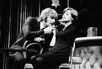 KNUCKLE   by David Hare   design: John Napier   lighting: Robert Bryan   director: Michael Blakemore Malcolm Storry (Max Dupree), Kate Nelligan (Jenny) Comedy Theatre / London SW1   04/03/1974...
