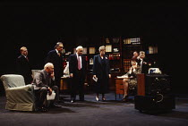 THE ABSENCE OF WAR   by David Hare   design: Bob Crowley   lighting: Mark Henderson   director: Richard Eyre   front, l-r: Adrian Scarborough (Bruce), Michael Bryant (The Rt. Hon. Bryden Thomas, MP)...