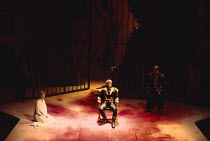 CORIOLANUS   by Shakespeare   design: Fran Thompson   lighting: Alan Burrett   director: David Thacker   l-r: Caroline Blakiston (Volumnia), Toby Stephens (Caius Martius Coriolanus), Barry Lynch (Tul...