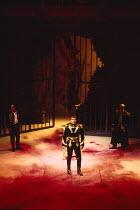 CORIOLANUS   by Shakespeare   design: Fran Thompson   lighting: Alan Burrett   director: David Thacker centre: Toby Stephens (Caius Martius Coriolanus) Royal Shakespeare Company (RSC) / Swan Theatre,...