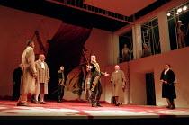 CORIOLANUS   by Shakespeare   design: Fran Thompson   lighting: Alan Burrett   director: David Thacker   front centre l-r: Lionel Haft (Sicinius Velutus), Toby Stephens (Caius Martius Coriolanus), Ewa...