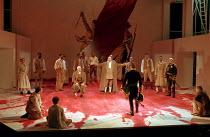 CORIOLANUS   by Shakespeare   design: Fran Thompson   lighting: Alan Burrett   director: David Thacker   seated, left: Ewan Hooper (Junius Brutus)   centre: Lionel Haft (Sicinius Velutus)   (back to c...