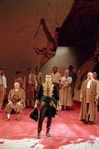 CORIOLANUS   by Shakespeare   design: Fran Thompson   lighting: Alan Burrett   director: David Thacker   seated, left: Ewan Hooper (Junius Brutus)   centre: Toby Stephens (Caius Martius Coriolanus)...
