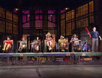 KINKY BOOTS   music & lyrics: Cyndi Lauper   book: Harvey Fierstein   set design: David Rockwell   costumes: Gregg Barnes   lighting: Kenneth Posner   choreographed & directed by Jerry Mitchell   l-r:...