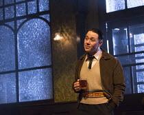 HANGMEN   by Martin McDonagh   design: Anna Fleischle   lighting: Joshua Carr   director: Matthew Dunster Reece Shearsmith (Syd)Jerwood Theatre Downstairs / Royal Court Theatre (RC), London SW1   18/0...