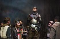 HENRY V   by Shakespeare   design: Stephen Brimson Lewis   lighting: Tim Mitchell   director: Gregory Doran  Act 4 sc. 3 - Saint Crispin's Day speech at Agincourt - centre: Alex Hassell (Henry V) Roya...