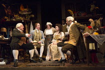 MR FOOTE'S OTHER LEG   by Ian Kelly   design: Tim Hatley   lighting: Peter Mumford   director: Richard Eyre   front, l-r: Simon Russell Beale (Mr Foote), Ian Kelly (Prince George), Jenny Galloway (Mrs...