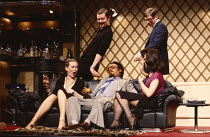 GOOSE-PIMPLES   devised & directed by Mike Leigh   design: Caroline Beaver   front, l-r: Jill Baker (Frankie), Antony Sher (Muhammad), Marion Bailey (Jackie)   rear, l-r: Jim Broadbent (Vernon), Paul...