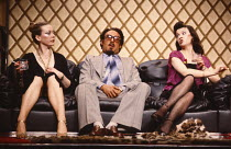 GOOSE-PIMPLES   devised & directed by Mike Leigh   design: Caroline Beaver   l-r: Jill Baker (Frankie), Antony Sher (Muhammad), Marion Bailey (Jackie)  Hampstead Theatre (HT), London NW3   03/03/1981...